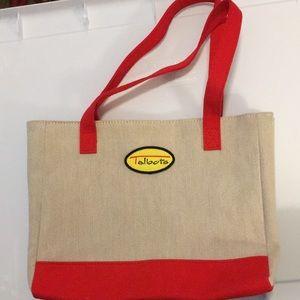 Talbots beige linen like small handbag